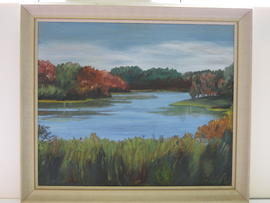 "painting - Fall Trees and River by Kate ""Kitty"" Stanley"