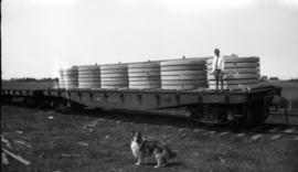 Boy standing with grindstones ready for shipment by rail, dog in foreground.