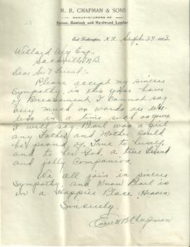 Letter of Sympathy from M. R. Chapman & Sons