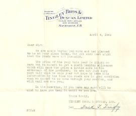Tingley Bros. & Duncan Ltd. Letter