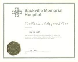 Pauline (Alward) Spatz Certificate of Appreciation