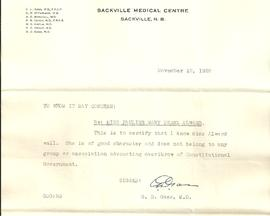 Letter from Dr. G. D. Gass
