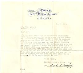 Letter and Bill from Fred T. Tingley
