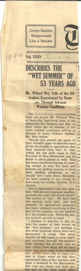 Newspaper Article by Willard Wry