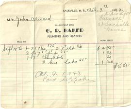 Receipt from G. R. Baker Plumbing & Heating