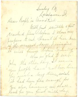 Letter from Pearl Wry to Mabel (Wry) Alward