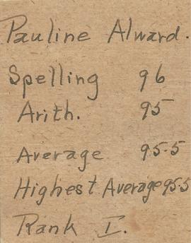 Pauline ALward Report Cards