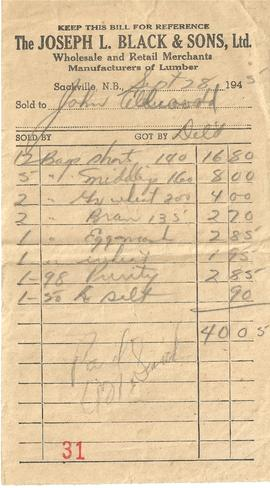 J. L. Black & Sons Ltd. Receipt
