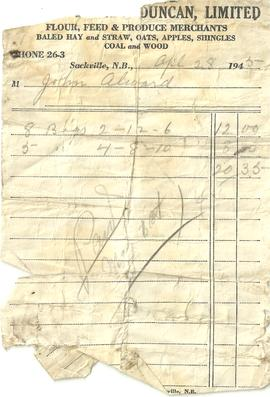 Tingley Bros. & Duncan Ltd. Receipt
