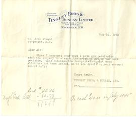 Tingley Bros. & Duncan Ltd. Letter and Bill