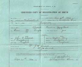 Pauline Alward Birth Certificate