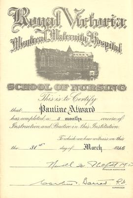 Pauline Alward School of Nursing Certificate