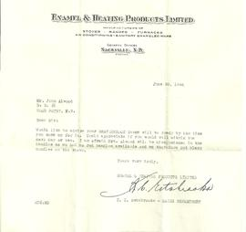 Receipt, Bill and Letter from Enamel & Heating Products Ltd.