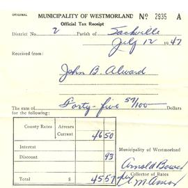 Municipality of Westmorland Tax Receipt