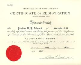 Pauline Alward Registered Nurse Exam &Certificate