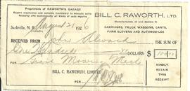 Bill C. Raworth Ltd. Receipt