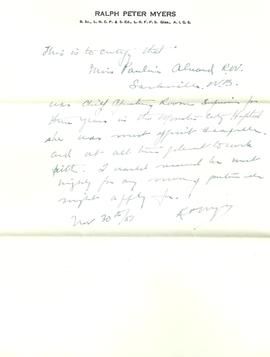 Letter from Dr. Ralph Meyers