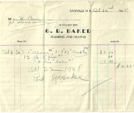 Receipt from G. R. Baker Plumbing and Heating