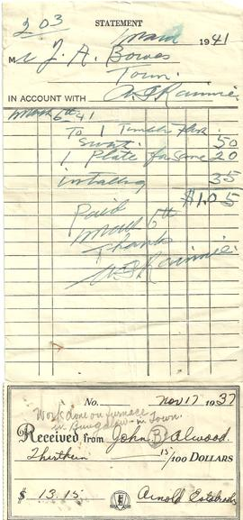 Receipt from Arnold Estabrooks