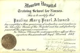 Pauline Alward Nursing School Diploma